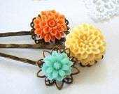 Woodland Hair Bobby Pins, Turquoise Green, Autumn Peach & Orange Chrysanthemum Flowers-Set of Three