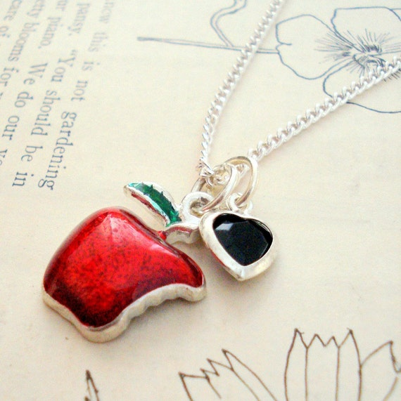 Snow White Necklace, Poisoned Apple, Fairytale Story- ON SALE