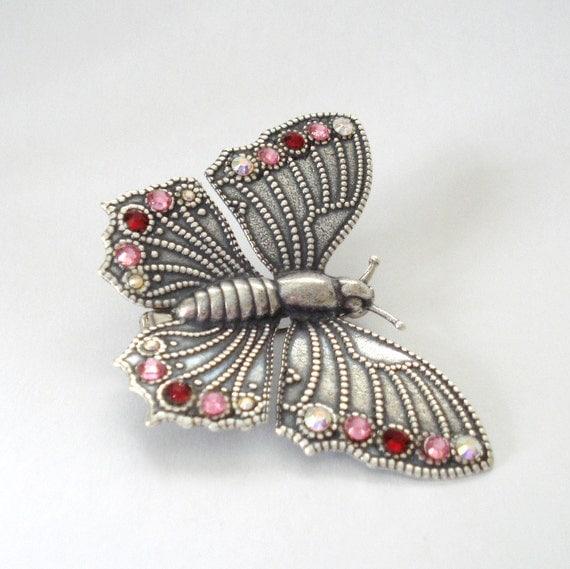 Victorian Butterfly Brooch, Antiqued Silver, Art Nouveau, Swarovski Crystals