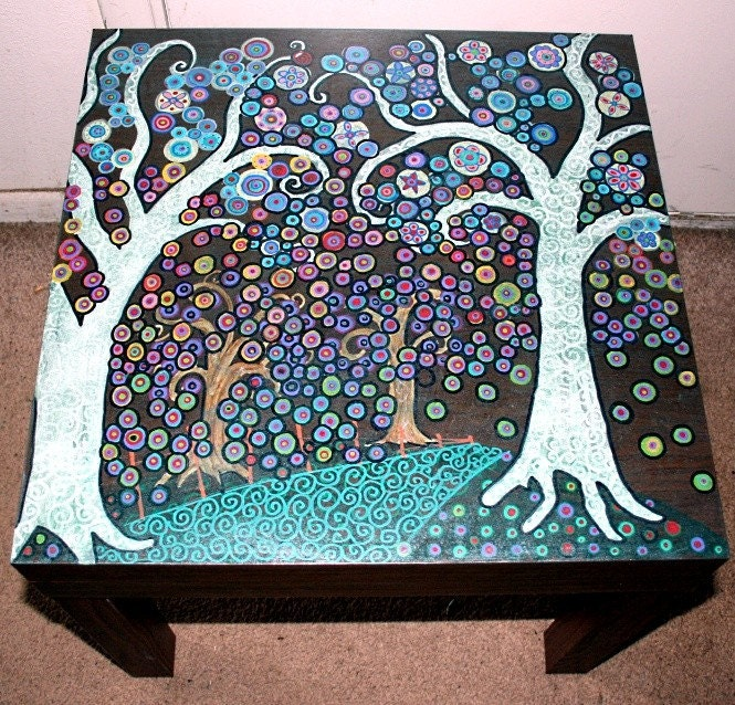 Funky Forest Themed Hand Painted Coffee Table Free Shipping