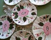 Blue Ridge Pottery Set of Six Unique Handpainted Underglaze Dessert Plates Floral Design