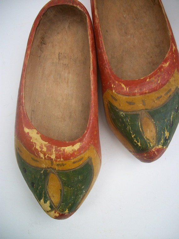 Vintage Dutch Wooden Shoes With Wonderful Patina