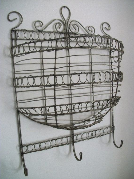 wire wall basket with hooks by folkcity on etsy. Black Bedroom Furniture Sets. Home Design Ideas
