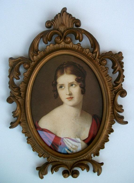 Lovely Vintage Italian Portrait Framed