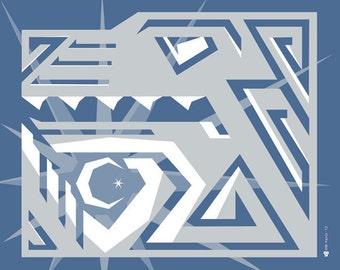 Art Deco Wolf 11x14 print