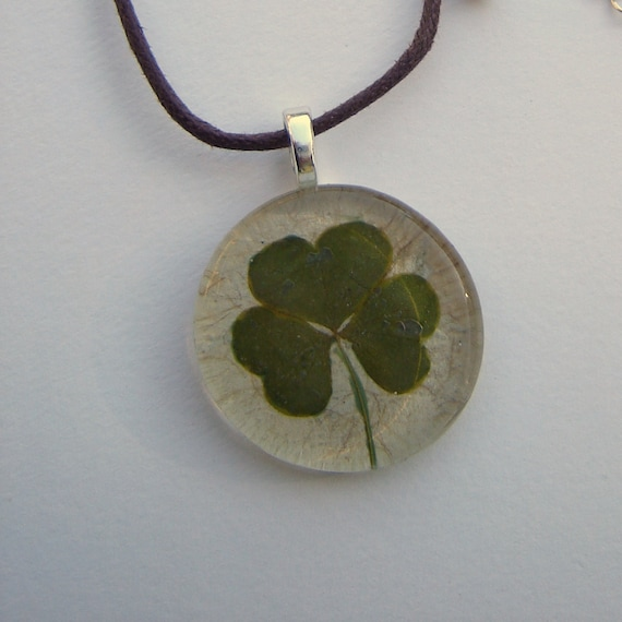 Shamrock Necklace - Real Pressed Leaf Pendant