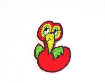 Gooney Applique, Red Bird Patch, Red Bird, Cartoon Bird, Embroidered Applique, Green, Red, Yellow, Patch, Lot of 6