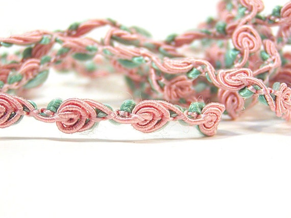 Flat Vintage, Rose, Green, Pink, Dusty Rose, Trim, over 1 yard,  Sewing, thecattsuglybabies on Etsy
