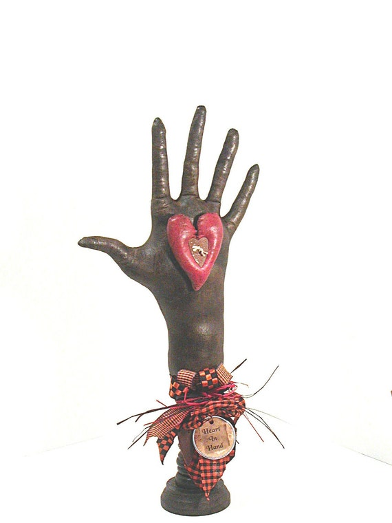 Heart In Hand, Halloween Decor, Witch, Make Do, Shelf Sitter, Primitive Halloween, Black, Orange, Orange and black, Gingham Check, Red Heart