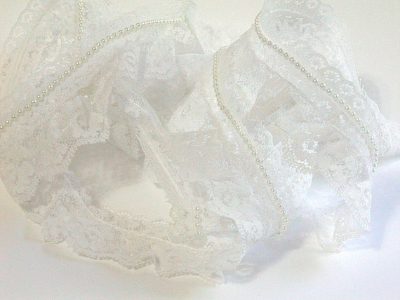 White Gathered Lace, White Beaded Trim, White Wedding Trim, White Gathered Trim, 1 and half in Wide, Wedding Trim Lace, Over 1 Yard, Bridal
