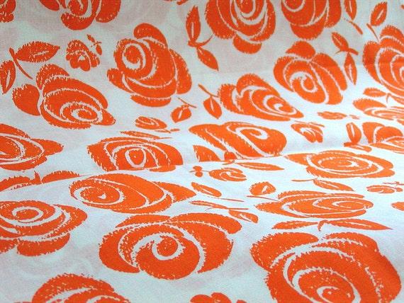 Orange Rose Fabric, Cotton Yardage, White, 4 yd Long, Orange and White, Cotton Fabric, 36 in wide, Flowers, Floral, Roses