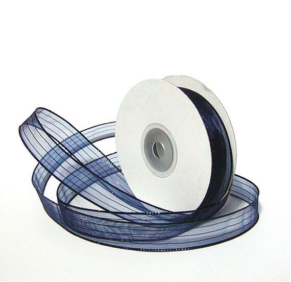 Navy Blue Ribbon, Organza Ribbon, Navy Ribbon Trim, Navy Ribbon, 3 quar Inch Wide, Navy Trim, Ribbon, 20 Yards
