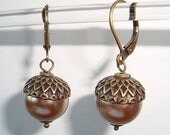 Acorn Earrings Bronze Brass Acorns Antique Style Earrings with Bronze Pearls