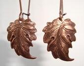 Leaf Earrings Antique Copper Leaf Long Drop Earrings