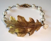 Leaf Bracelet Branch Bracelet Antique Bronze Leaf with Ivory Pearls Bracelet