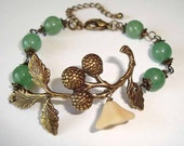 Branch Bracelet Green Amazonite Branch with Berries Antique Brass Bracelet