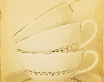 grandma's vintage cups-antique photography-tea cups-vintage-tea cup photography  (5 x 7 Original fine art photography prints) FREE Shipping