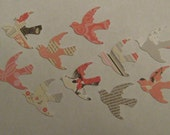 Pretty in Pink little bird / dove paper punches - over 70 pieces