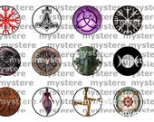 1 Inch Circles Pagan Wiccan Druid Heathen Asatru Goddess Symbols Digital Collage Sheet