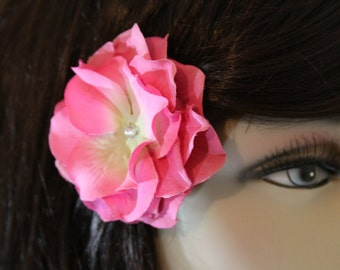Pink Flower on an Alligator Clip- Handmade Hair Flower