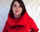 Red  Satin Starlett Swing Coat  Red Carpet Worthy