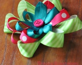 Lime Green, Pink, and Blue Button Bow