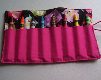 Owl crayon roll up 8 count