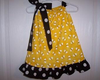 Girls bumble bee pillowcase dress black dots, zebra, red, white, chevron tie and ruffle choose infant thru 7/8 years