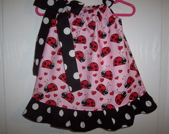 Ladybug girls pink pillowcase dress with your choice tie and ruffle infant through 7/8 years