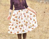 Vintage Tulips and Daisies Abstract Floral Skirt