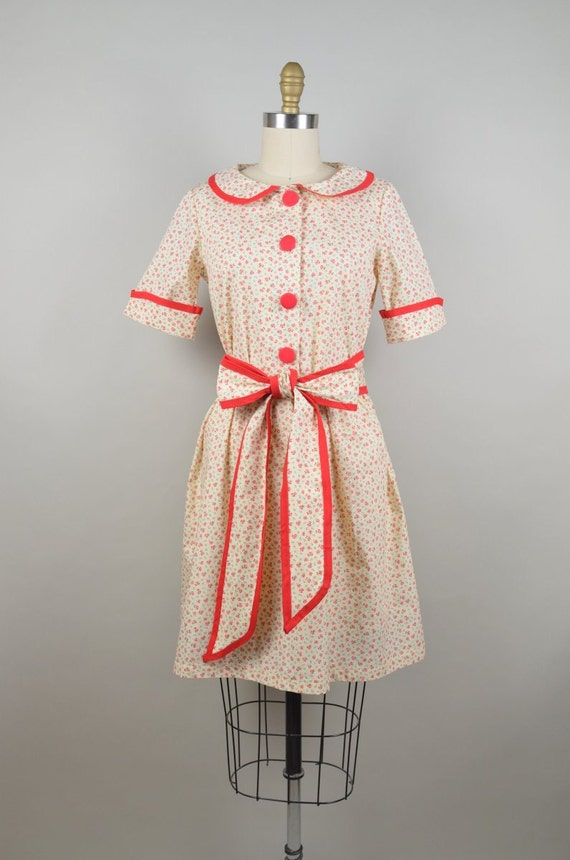 Handmade Retro Floral Shirtwaist Style Dress with Matching Tie Belt