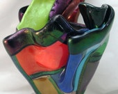 Fused Glass Vase - Iridized Patchwork - Stained Glass Look
