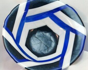 Fused Glass Bowl - Geometric Blues