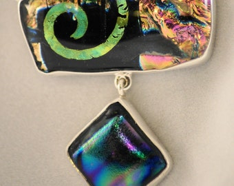 Fused Glass Sterling Silver Necklas - Double Dichroic