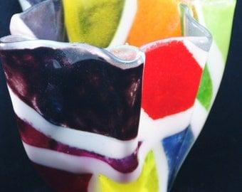 Fused Glass Vase - Colorful Frit in 4 inch Vase