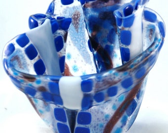 Fused Glass Vase - Blue Strips and Dots
