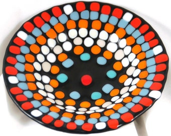 Fused Glass Bowl - Colored Dots in Black