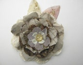 """31/2 """" Hand made fabric flower, off white, olive green and brown.Flower"""
