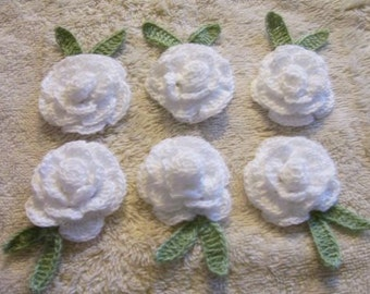 6 roses flowers white  appliques scrapbooking sewn on home decor handmade embellishments