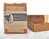 the BLOOD ORANGE & POPPY bar - Organic soap, unscented soap, dog soap,  handcrafted soap, natural soap, kitchen soap