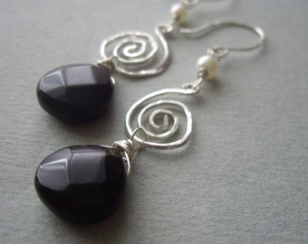 Smoky Quartz and Sterling Silver Earrings