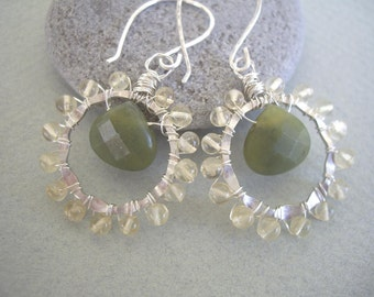 Wire Wrapped Canadian Jade and Citrine Earrings