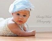 Tiffany Blue Feather with White Accents on Stretch Lace Headband/ Great Photo Prop