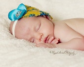 Beautiful and oh so summer Canary Yellow and Blue Curly Feather headband/ Great Photo Prop