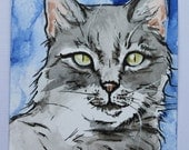 Custom ACEO animal, watercolor and ink, size 2.5 x 3.5 inches