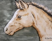 Baby horse, Original watercolor and ink OSWOA size 4 x 6 inches