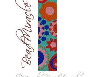 Happy Flowers 2. - PDF Peyote Barcelet Pattern