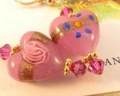 Venetian Glass Pink Heart 14K Gold Filled Earrings Rosina