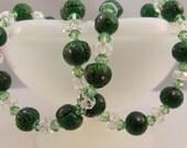 Venetian Glass Green Millefiori 925 Sterling Necklace