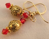 14K Gold Fill Tierra Cast Earrings Red Swarovski